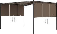 vidaXL Garden Gazebo with Side Curtain 4x3x2.25 m