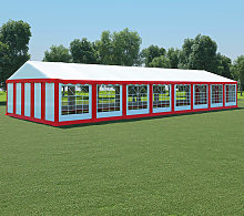 vidaXL Garden Marquee PVC 6x16 m Red and White