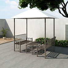 vidaXL Garden Pavilion with Table and Bench 2.5 x