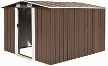 vidaXL Garden Shed 257x298x178 cm Metal Brown