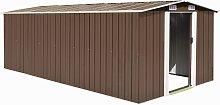 vidaXL Garden Shed 257x489x181 cm Metal Brown