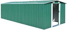 vidaXL Garden Shed 257x580x181 cm Metal Green
