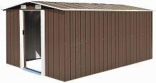 vidaXL Garden Shed Metal 257x398x178 cm Brown -