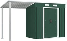 vidaXL Garden Shed with Extended Roof Green