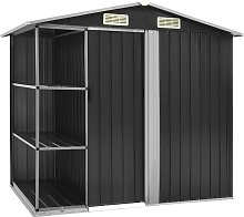 vidaXL Garden Shed with Rack Anthracite