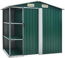 vidaXL Garden Shed with Rack Green 205x130x183 cm