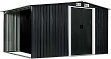 vidaXL Garden Shed with Sliding Doors Anthracite