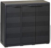 vidaXL Garden Storage Cabinet with 2 Shelves Black