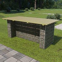 vidaXL Garden Table with Steel Gabion 180x90x74 cm