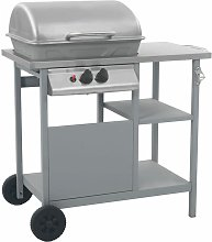 vidaXL Gas BBQ Grill with 3-layer Side Table Black