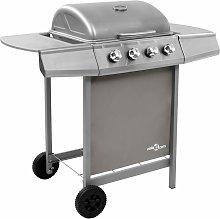vidaXL Gas BBQ Grill with 4 Burners Silver - Silver