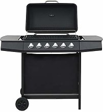 vidaXL Gas BBQ Grill with 6 Cooking Zones Steel