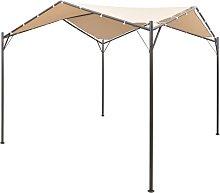 vidaXL Gazebo Pavilion Tent Canopy Steel Beige 4x4