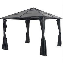 vidaXL Gazebo with Curtain Aluminium 3x3 m Black