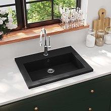 vidaXL Granite Basin 600x450x120 mm Black
