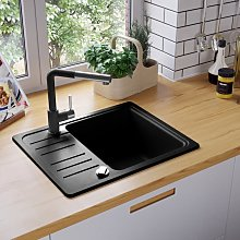 vidaXL Granite Kitchen Sink Single Basin Black