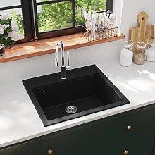 vidaXL Granite Kitchen Sink Single Basin Black