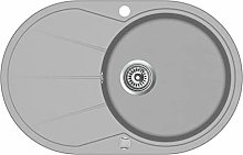 vidaXL Granite Kitchen Sink Single Basin Oval Grey