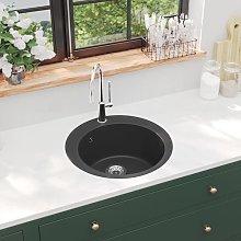 vidaXL Granite Kitchen Sink Single Basin Round