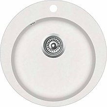 vidaXL Granite Kitchen Sink Single Basin Round