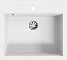 vidaXL Granite Kitchen Sink Single Basin White -