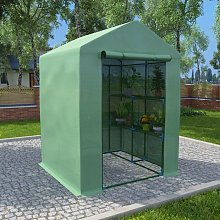 vidaXL Greenhouse with Shelves Steel 143x143x195 cm