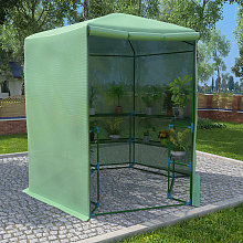 vidaXL Greenhouse with Shelves Steel 227x223 cm