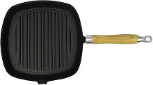 vidaXL Grill Pan with Wooden Handle Cast Iron