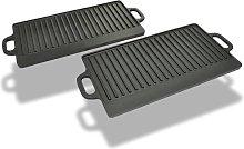 vidaXL Grill Platter 2 pcs Cast Iron Reversible
