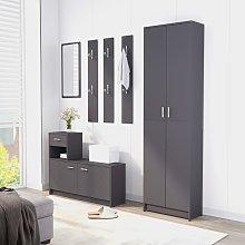 vidaXL Hallway Furniture Set Grey Chipboard