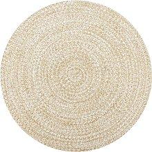 vidaXL Handmade Rug Jute White and Natural 90 cm -