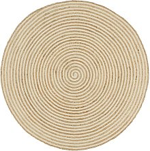 vidaXL Handmade Rug Jute with Spiral Design White
