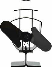 vidaXL Heat Powered Stove Fan Black 2 Blades -