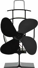 vidaXL Heat Powered Stove Fan Black 4 Blades -