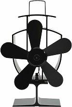 vidaXL Heat Powered Stove Fan Black 5 Blades -