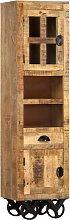 vidaXL Highboard with Wheel 38x30x143 cm Solid Rough Mango Wood