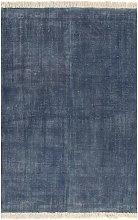 vidaXL Kilim Rug Cotton 160x230 cm Blue - Blue