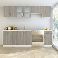 vidaXL Kitchen Cabinet Unit 7 Pieces Oak Look