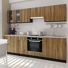 vidaXL Kitchen Cabinet Unit Brown with Built-in 6