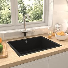 vidaXL Kitchen Sink with Overflow Hole Black