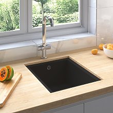vidaXL Kitchen Sink with Overflow Hole Black