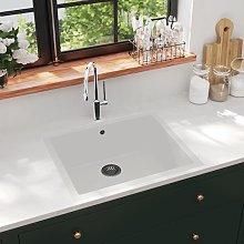 vidaXL Kitchen Sink with Overflow Hole White