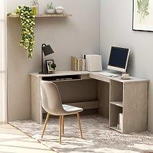 vidaXL L-Shaped Corner Desk Concrete Grey