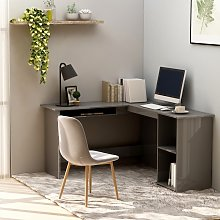 vidaXL L-Shaped Corner Desk High Gloss Grey