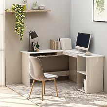 vidaXL L-Shaped Corner Desk High Gloss White