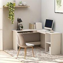 vidaXL L-Shaped Corner Desk White 120x140x75 cm