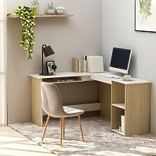 vidaXL L-Shaped Corner Desk White and Sonoma Oak