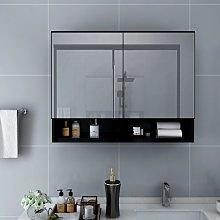 vidaXL LED Bathroom Mirror Cabinet Black 80x15x60