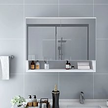 vidaXL LED Bathroom Mirror Cabinet White 80x15x60