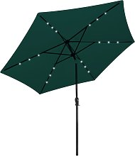 vidaXL LED Cantilever Umbrella 3 m Green